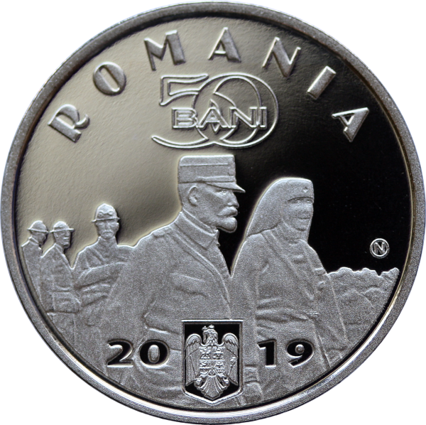 Румыния монета 50 бани Заключение Великого союза, аверс
