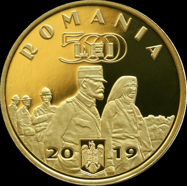 Румыния монета 500 лей Заключение Великого союза, аверс