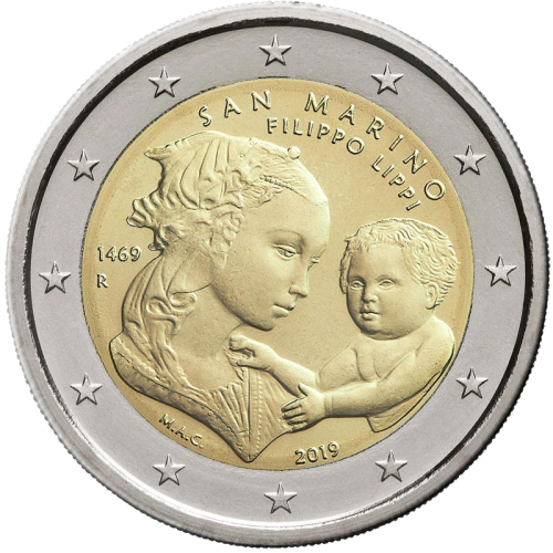 Сан-Марино монета 2 евро 550 лет со дня смерти Филиппо Липпи, реверс