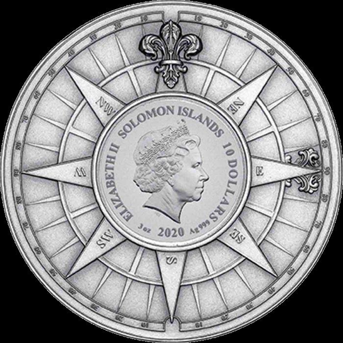 Соломоновы острова монета 10 долларов Капитан Кук 250 лет кругостветки, аверс