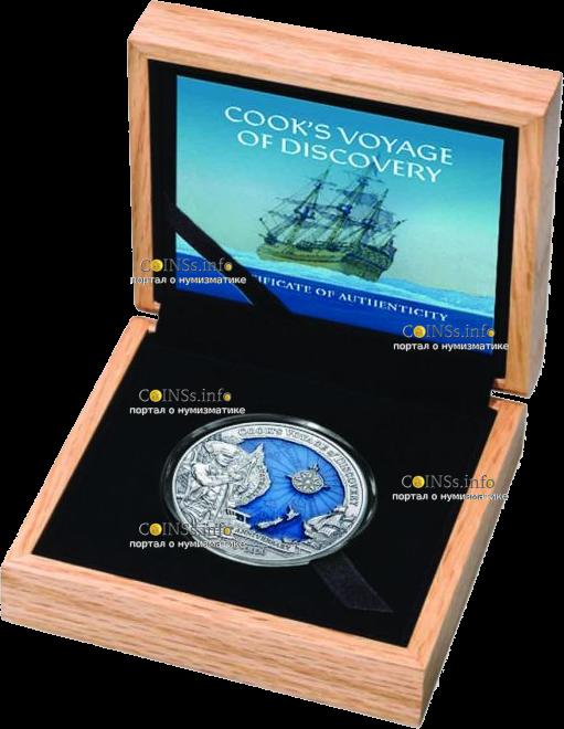 Соломоновы острова монета 10 долларов Капитан Кук 250 лет кругостветки, подарочная упаковка