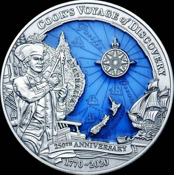 Соломоновы острова монета 10 долларов Капитан Кук 250 лет кругостветки, реверс