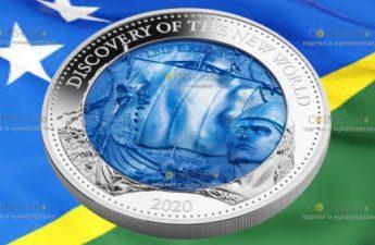 Соломоновы острова монета 25 долларов Открытие Нового Света