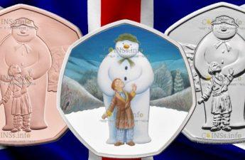 Великобритания монета 50 пенсов Снеговик 2019 года