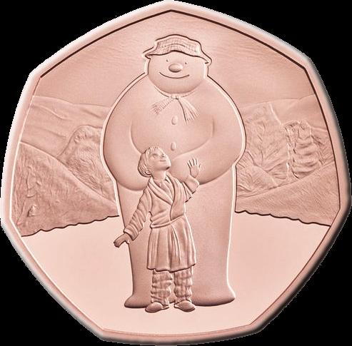 Великобритания монета 50 пенсов Снеговик 2019, золото, реверс