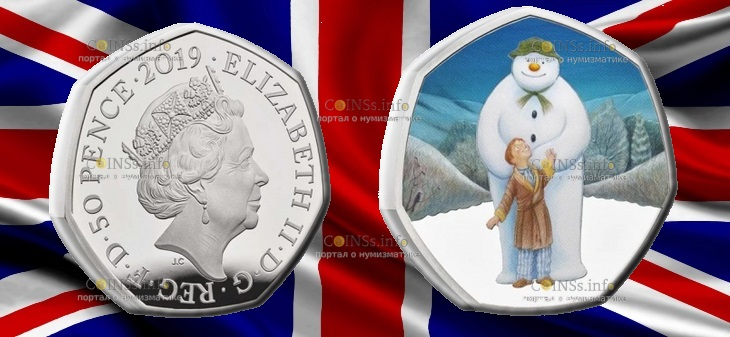 Великобритания монета 50 пенсов Снеговик 2019