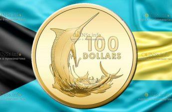 Багамские острова монета 100 долларов Марлин