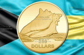 Багамские острова монета 100 долларов Раковина