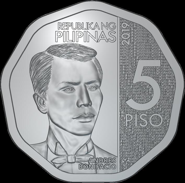 Филиппины циркуляционная монета 5 песо, аверс