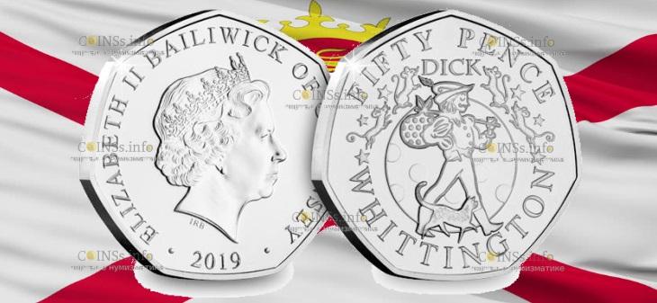 Гернси монета 50 пенсов Дик Уиттингтон