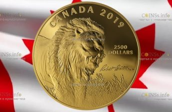 Канада монета 2500 долларов Лев