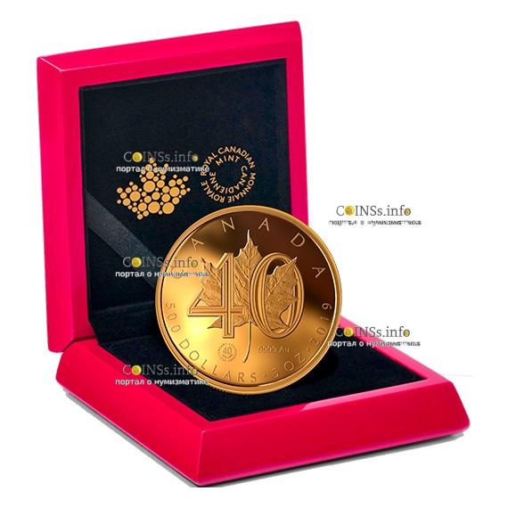 Канада монета 500 долларов 40-летию Золотого Кленового листа, подарочная упаковка