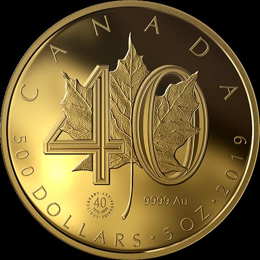 Канада монета 500 долларов 40-летию Золотого Кленового листа, реверс