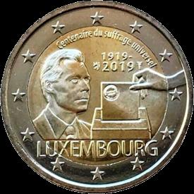 Люксембург монета 2 евро 100 лет всеобщего избирательного права, реверс