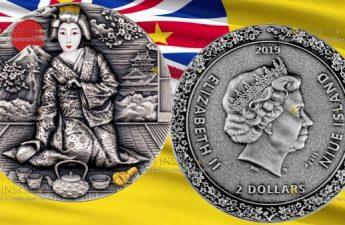 Ниуэ монета 2 доллара Гейша