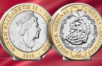 Остров Мэн монета 2 фунта Дед Мороз