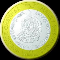 Остров Мэн монета 2 фунта Дед Мороз, реверс