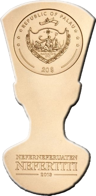 Палау монета 20 долларов Бюст Нефертити, аверс