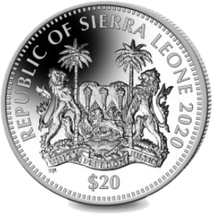 Сьерра Леоне монета 20 долларов аверс 2020 год