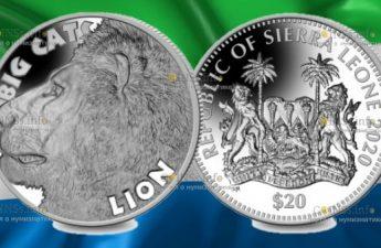 Сьерра Леоне монета 20 долларов Большая кошка - Лев