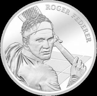 Швейцария монета 20 франков Роджер Федерер, реверс