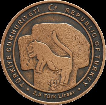 Турция монета 2,5 лиры Гёбекли-Тепе, аверс