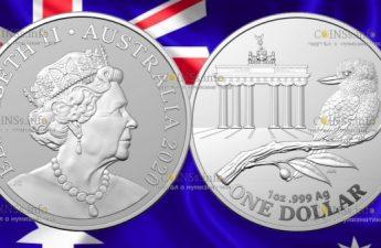 Австралия монета 1 доллар Кукабарра с Бранденбургскими воротами