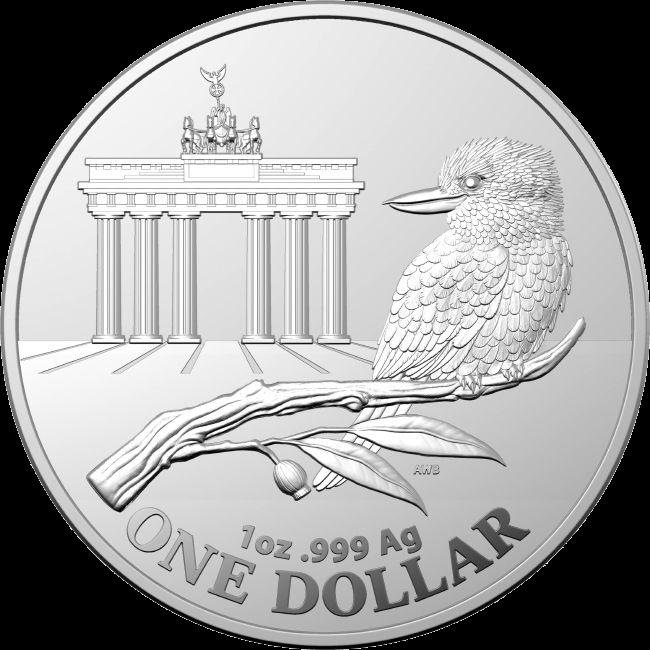 Австралия монета 1 доллар Кукабарра с Бранденбургскими воротами, реверс