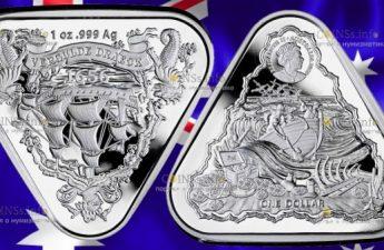 Австралия монета 1 доллар Позолоченный Дракон