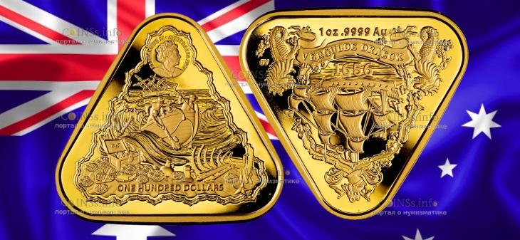 Австралия монета 100 долларов Позолоченный Дракон