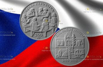 Чехия монета 200 крон 600 лет публикации 4-х пражских статей