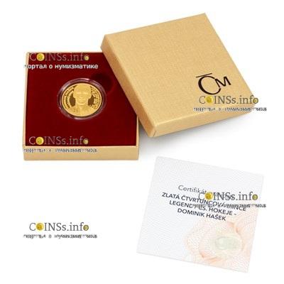 Чехия монета 25 долларов Доминик Гашек, подарочная упаковка