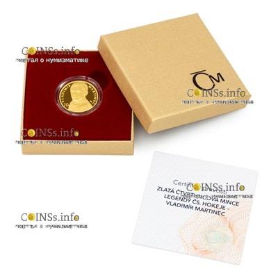 Чехия монета 25 долларов Владимир Мартинец, подарочная упаковка