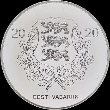 Эстония монета 15 евро Юрий Яксон, аверс