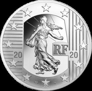 Франция монета 10 евро, Сеятель - Новый Франк, аверс