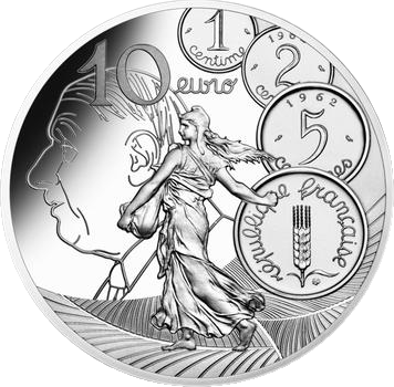Франция монета 10 евро, Сеятель - Новый Франк, реверс