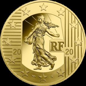 Франция монета 100 евро, Сеятель - Новый Франк, аверс