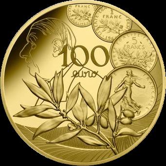 Франция монета 100 евро, Сеятель - Новый Франк, реверс