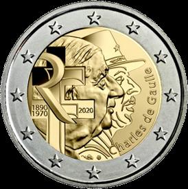Франция монета 2 евро Шарль де Голль, реверс