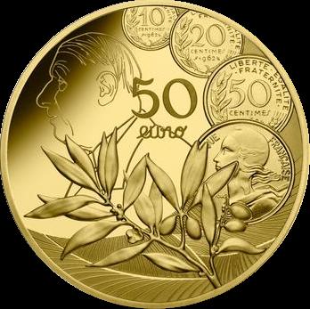 Франция монета 50 евро, Сеятель - Новый Франк, реверс