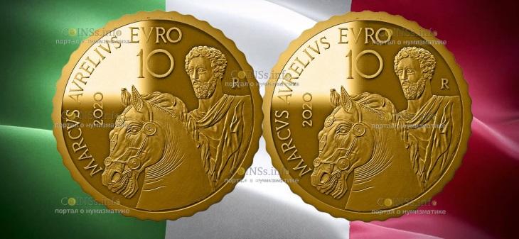 Италия монета 10 евро Марк Аврелий