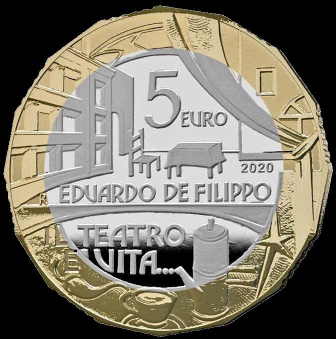 Италия монета 5 евро Эдуардо Де Филиппо, реверс