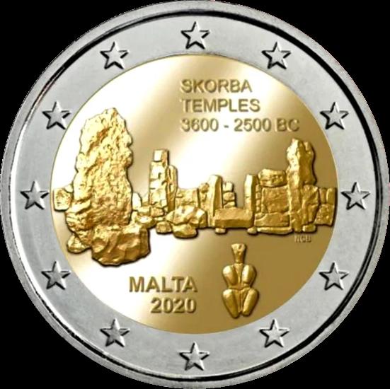 мальта монета 2 евро Храм Скорба, реверс