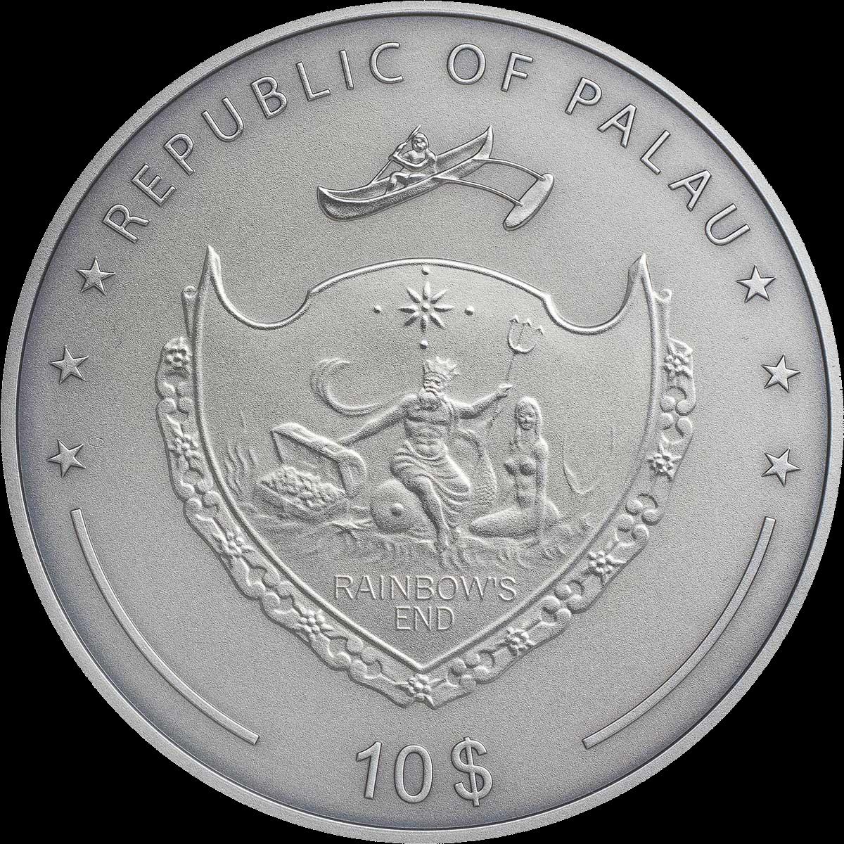 Палау монета 10 долларов Золотой гусь, аверс