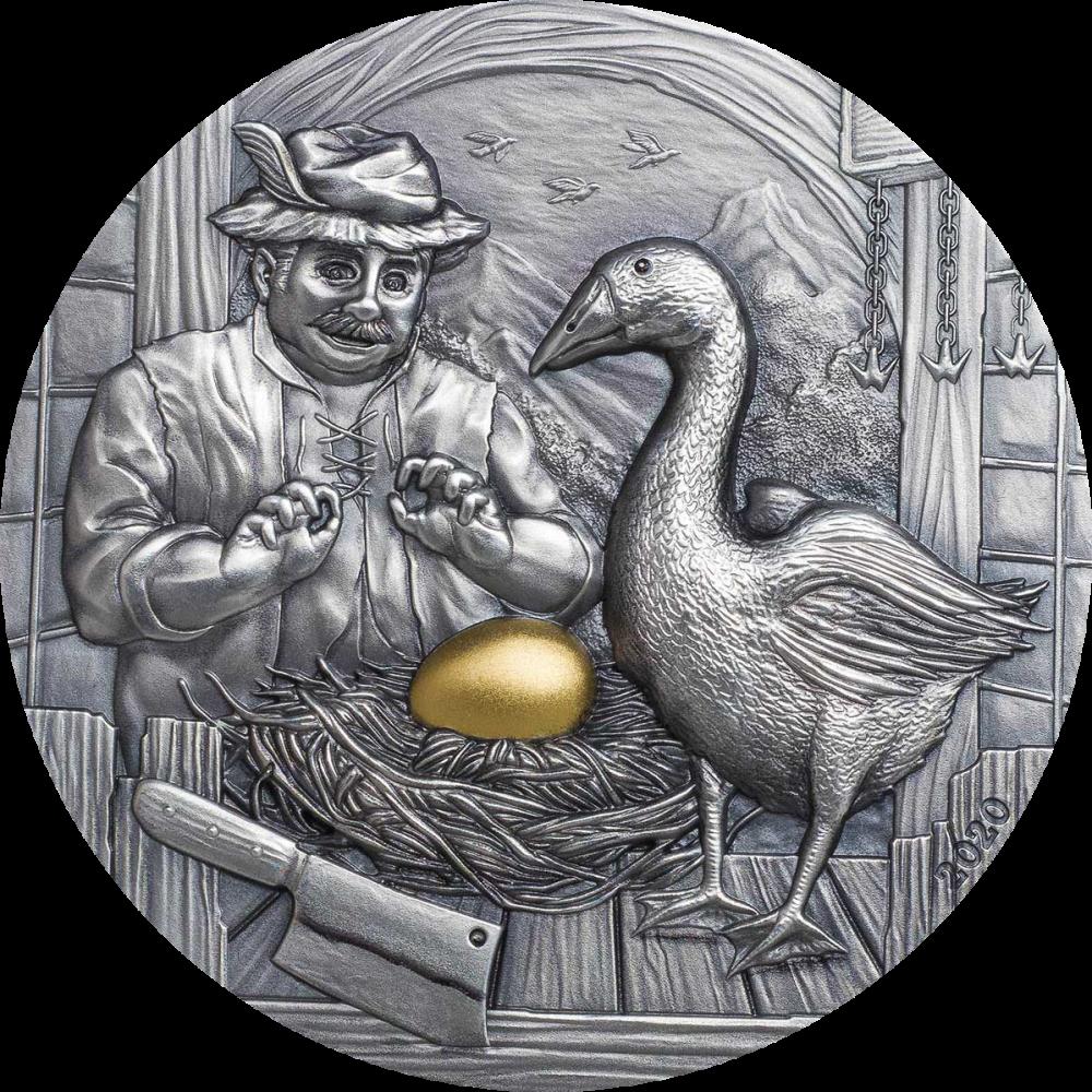 Палау монета 10 долларов Золотой гусь, реверс