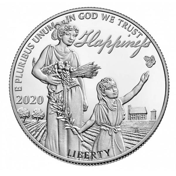 США монета 100 долларов В погоне за счастьем, аверс