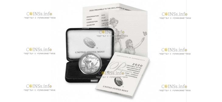 США монета 100 доларов В погоне за счастьем, подарочная упаковка