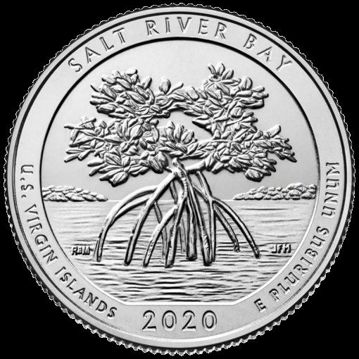 США монета 25 центов Национальный исторический парк и экологический заповедник Солт-Ривер-Бэй, реверс