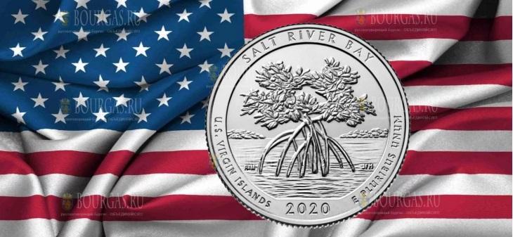 США монета 25 центов Национальный исторический парк и экологический заповедник Солт-Ривер-Бэй