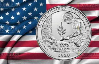 США монета 25 центов Национальный исторический парк Марш-Биллингс-Рокфеллер в Вермонте